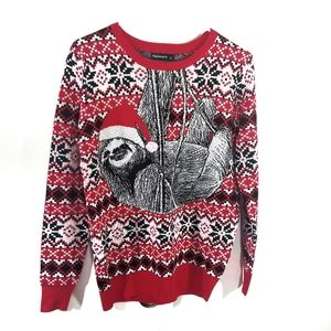Red Fair Isle  Sloth Ugly Christmas Sweater NWOT